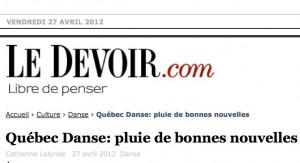Québec Danse : pluie de bonnes nouvelles