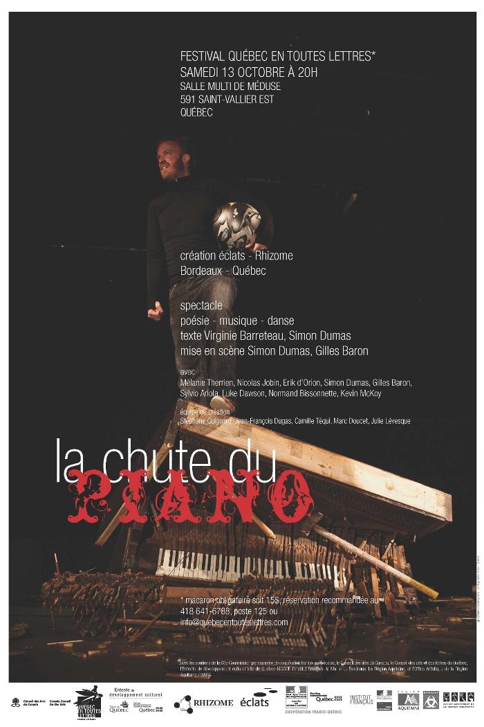 Le Festival Québec en toutes lettres présente La chute du piano de Rhizome et éclats