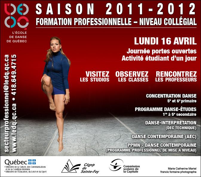 Journée portes ouvertes à L'École de danse de Québec le 16 avril 2012