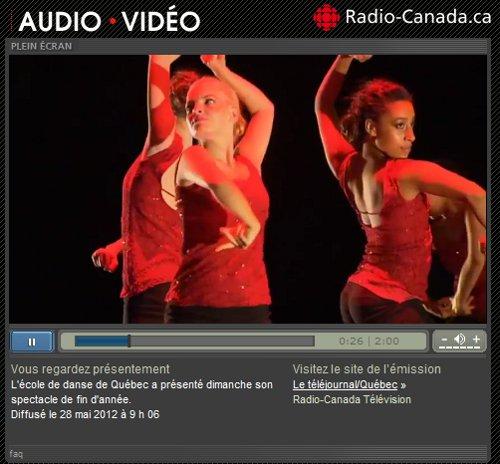 Critique à Radio-Canada du spectacle de fin d'année de L'École de danse de Québec