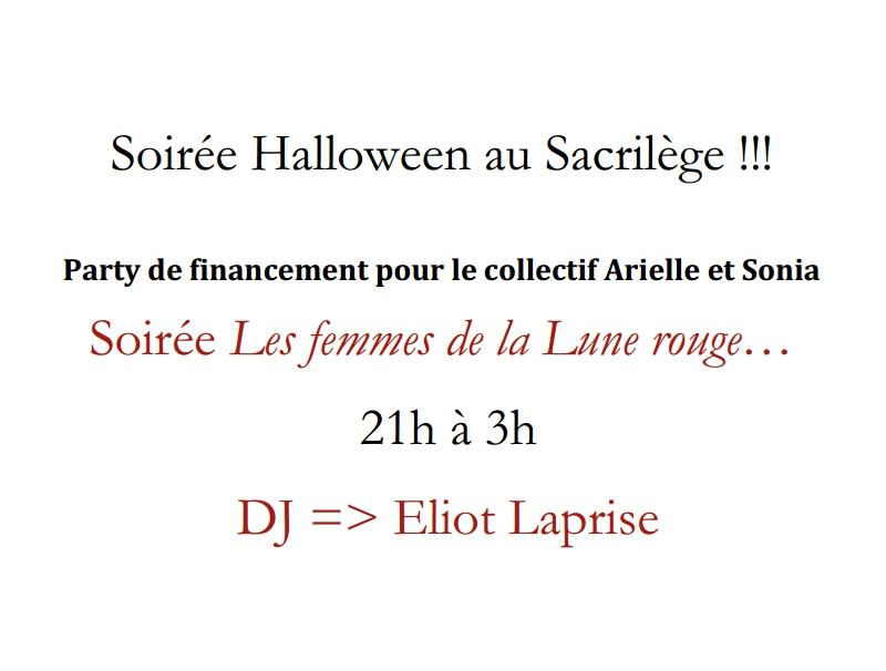 Soirée Halloween au Sacrilège !!!  Party de financement pour le collectif Arielle et Sonia