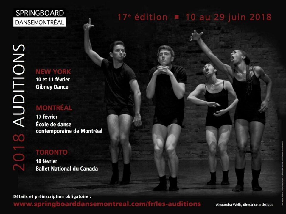 Inscription aux auditions du Springboard Danse Montréal